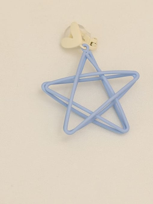 Blue [ear clip] Copper Enamel Star Minimalist Stud Earring
